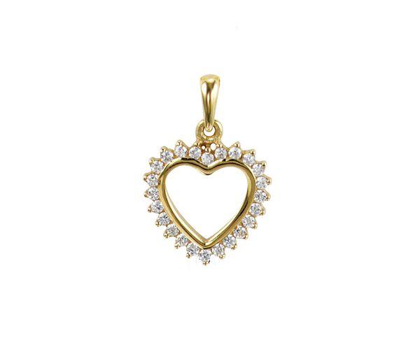 Magnifique pendentif coeur ajouré pour dame en or 10k serti de cubiques zirconias